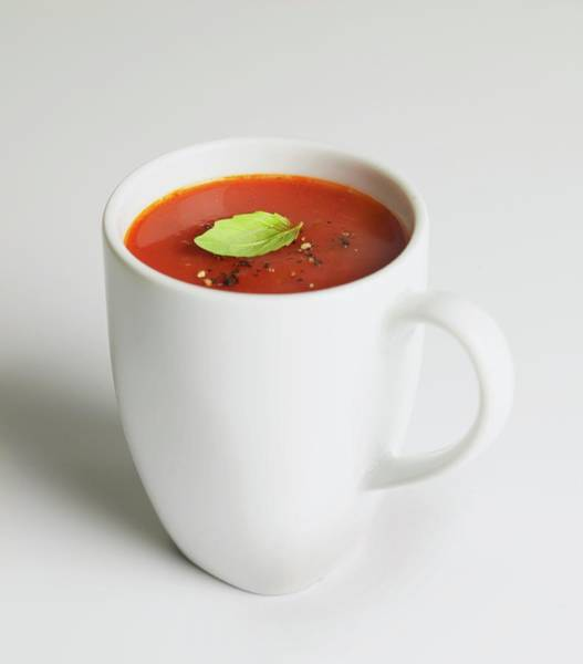 Mug Photograph - Tomato Soup In Mug, With Crushed Pepper by Dorling Kindersley