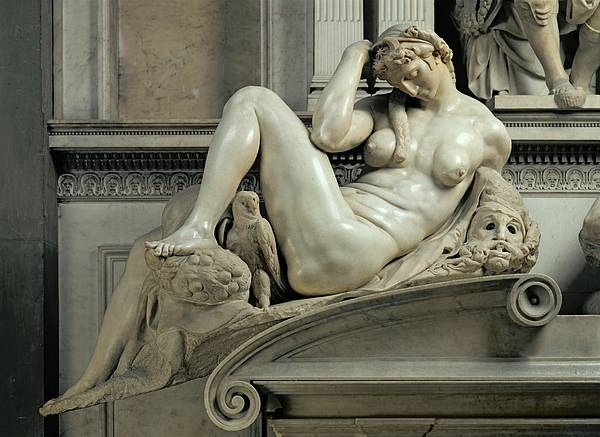 Wall Art - Photograph - Tomb Of Giuliano De Medici, Detail Of Night, Marble by Michelangelo Buonarroti