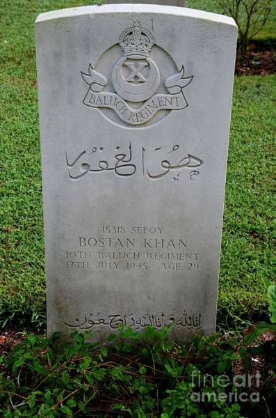 Photograph - Tombstone Of Pakistani Soldier From Baloch Regiment In British Indian Army At Kranji Cemetery Singap by Imran Ahmed