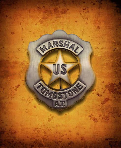 Wall Art - Digital Art - Tombstone U. S. Marshal Badge by Daniel Hagerman