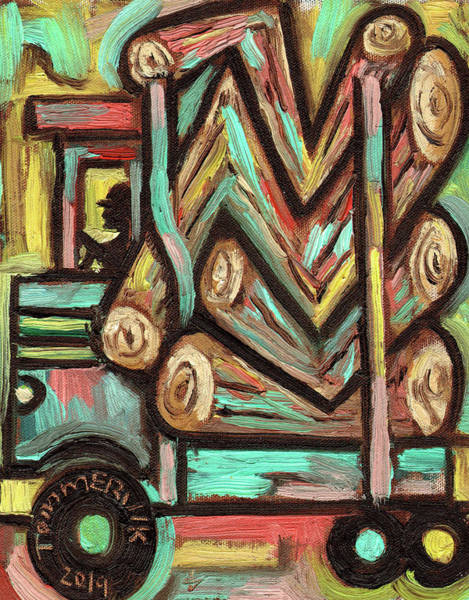 Painting - Tommervik Abstract Logging Truck Art Print by Tommervik