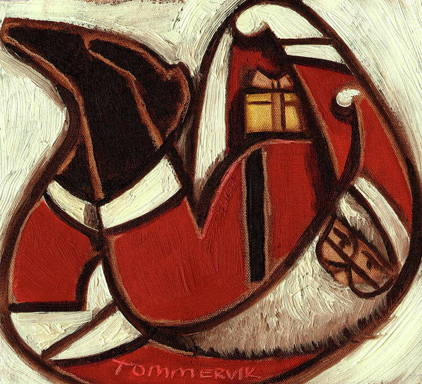 Painting - Tommervik Abstract Santa Claus Art Print by Tommervik