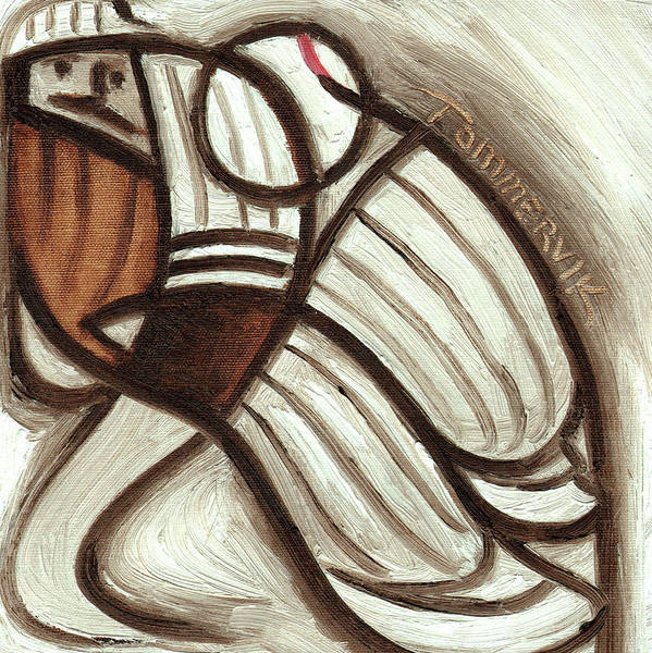 Painting - Tommervik Abstract Vintage Baseball Pitcher  by Tommervik