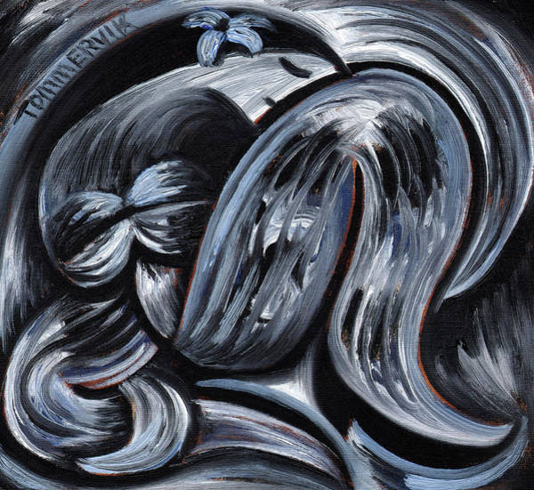 Painting - Tommervik Blue Exotic Hawaiiian Woman Art Print by Tommervik