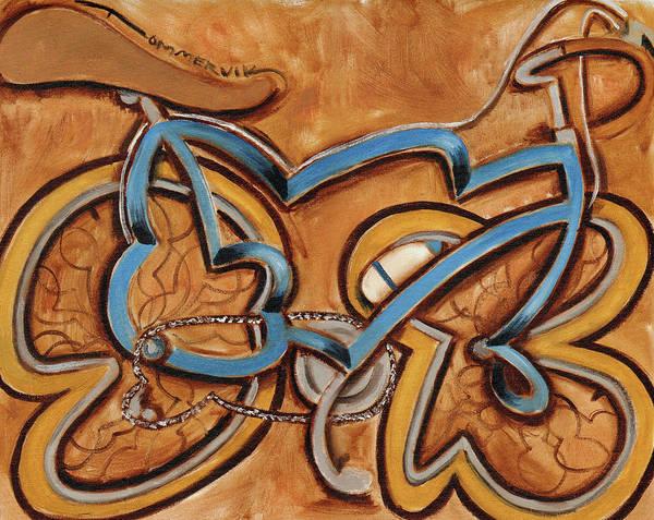 Painting - Tommervik Blue Ten Speed Bike Wtih Water Bottle Art Print by Tommervik