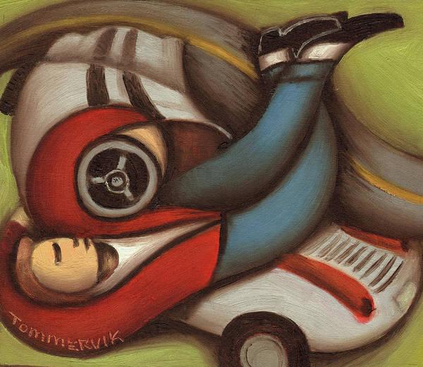 Painting - Tommervik James Dean Car Wreck Art Print by Tommervik