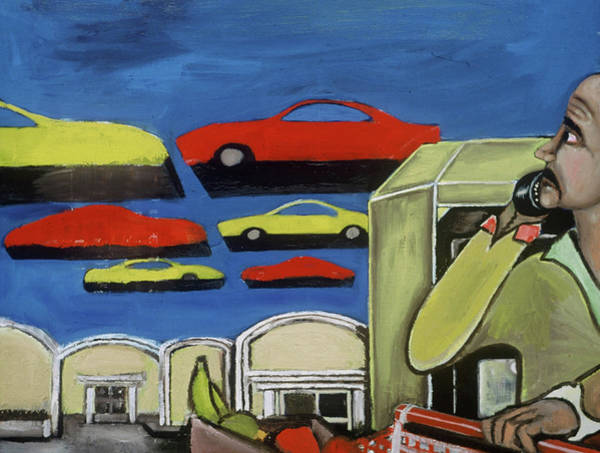 Painting -  South Beach Miami Grocery Store Parking Lot Art Print by Tommervik