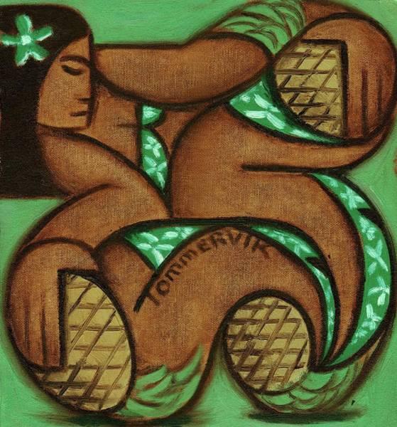 Painting - Tommervik Tommrvik Hawaiian Woman Pineapple Art Print by Tommervik