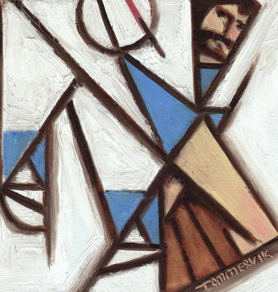 Painting - Tommervik Triangular Baseball Player Art Print by Tommervik