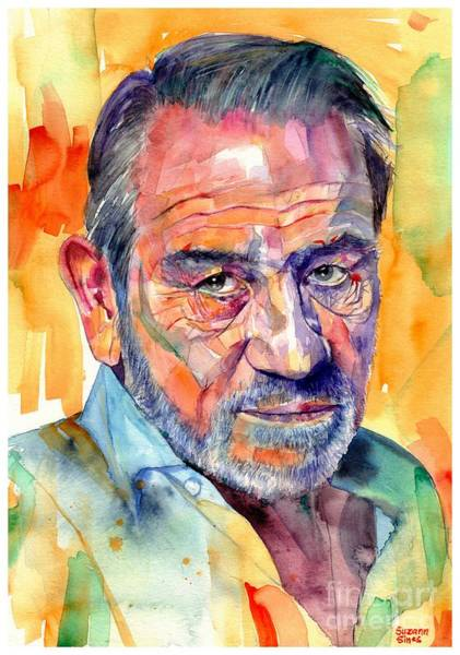 Wall Art - Painting - Tommy Lee Jones Watercolor by Suzann Sines