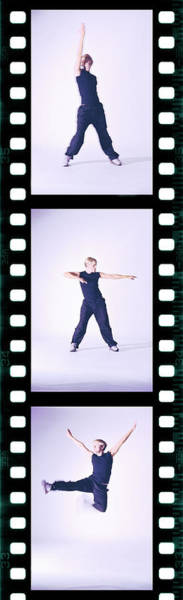 Photograph - Toned Film Strip Of A Young Man Dancing by George Doyle
