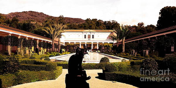 Wall Art - Photograph - Tones Wide View J Paul Getty Villa by Chuck Kuhn