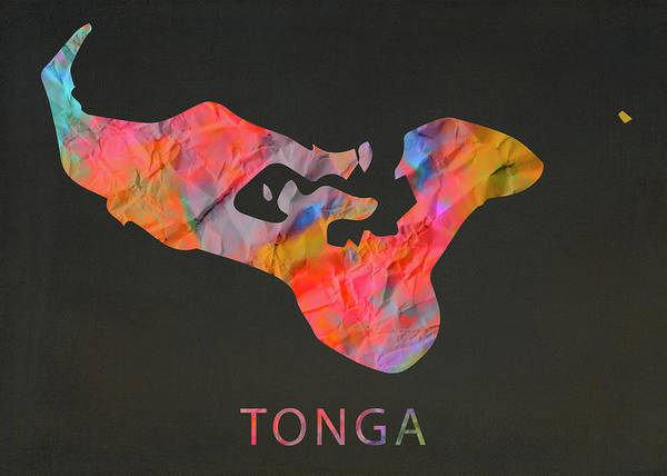 Wall Art - Mixed Media - Tonga Tie Dye Country Map by Design Turnpike
