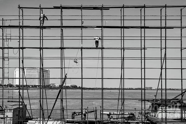 Wall Art - Photograph - Tonle Sap Scaffolding by Dean Harte