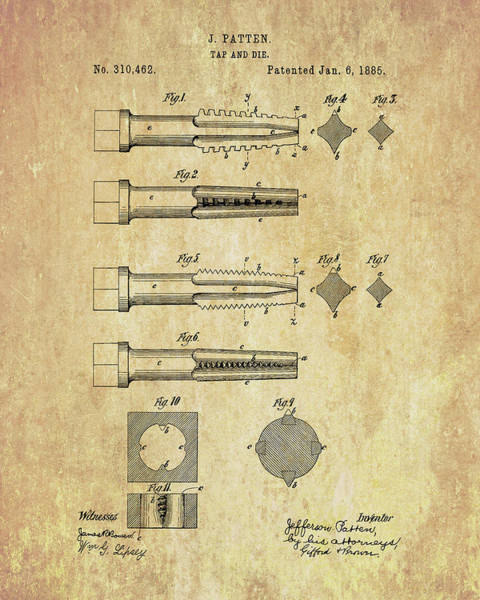 Wall Art - Drawing - Tool And Die Patent by Dan Sproul