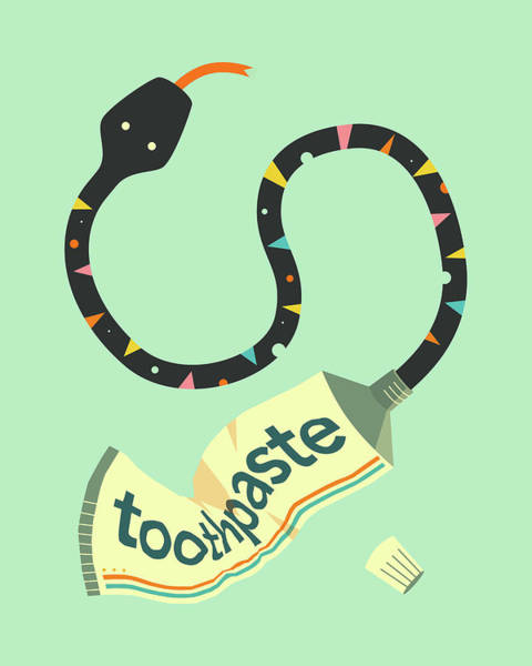 Reptiles Digital Art - Toothpaste Snake by Jazzberry Blue