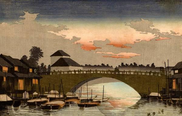 Wall Art - Painting - Top Quality Art - Asakusa Bridge Sunset by Inoue Yasuji