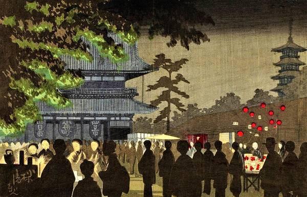 Japanese Shrine Painting - Top Quality Art - Asakusa Yomise by Kobayashi Kiyochika