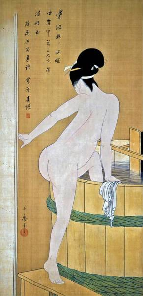 Wall Art - Painting - Top Quality Art - Bathing In Cold Water by Kitagawa Utamaro