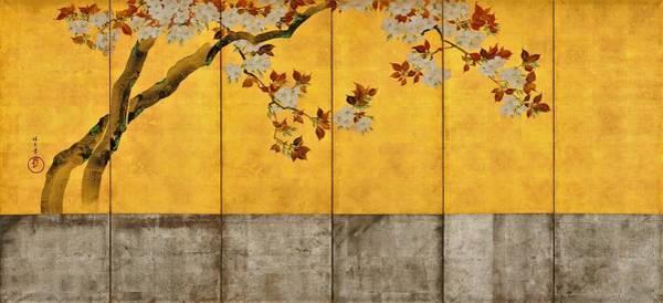 Wall Art - Painting - Top Quality Art - Blossoming Cherry Trees #2 by Sakai Hoitsu