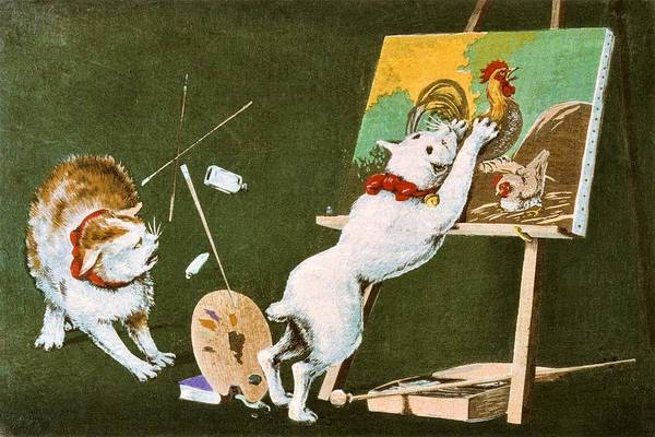 Wall Art - Painting - Top Quality Art - Canvas And Cat by Kobayashi Kiyochika