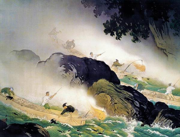 Cormorant Wall Art - Painting - Top Quality Art - Cormorant Fishing by Kawai Gyokudo