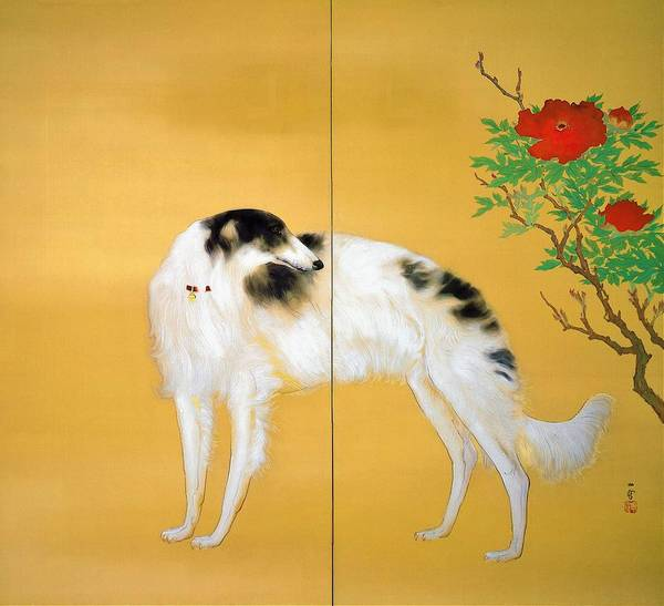 Wall Art - Painting - Top Quality Art - Dogs From Europe-borzoi by Hashimoto Kansetsu