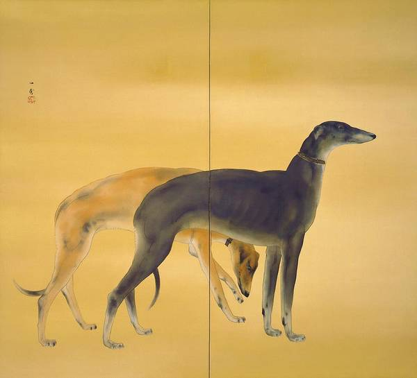 Wall Art - Painting - Top Quality Art - Dogs From Europe-greyhound by Hashimoto Kansetsu
