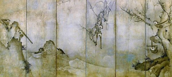 Monkey Wall Art - Painting - Top Quality Art - Enkosokugetsu by Sesson Shukei