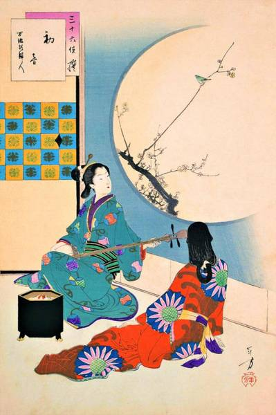Wall Art - Painting - Top Quality Art - First Warbling by Mizuno Toshikata