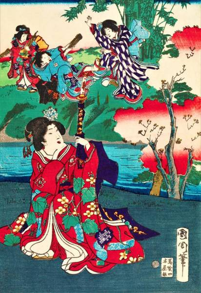 Kimono Painting - Top Quality Art - Genji Story by Toyohara Kunichika