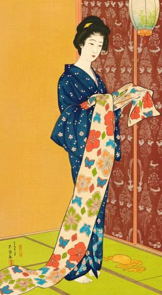 Wall Art - Painting - Top Quality Art - Girl In Summer Costume by Hashiguchi Goyo