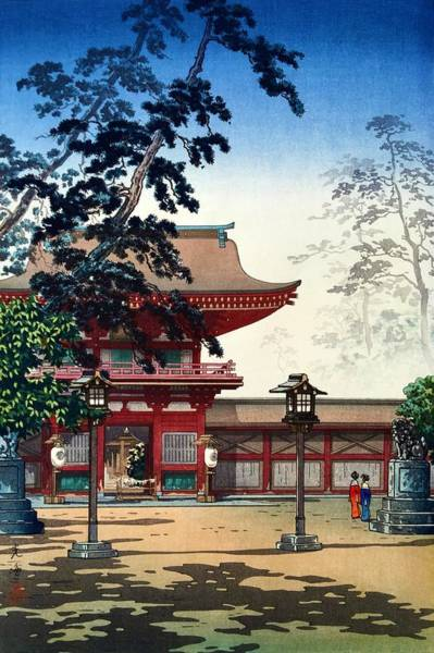 Japanese Shrine Painting - Top Quality Art - Hakozaki Temple by Tsuchiya Koitsu