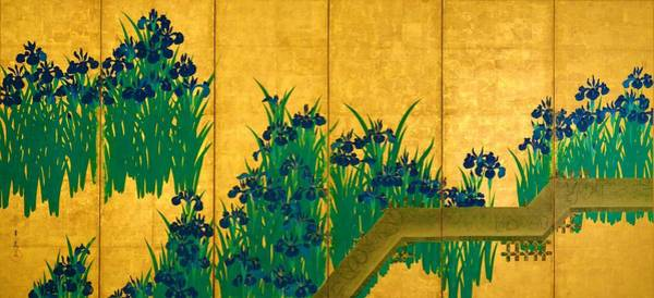 Felicitous Wall Art - Digital Art - Top Quality Art - Irises At Yatsuhashi-eight Bridges #1 by Ogata Korin