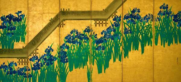 Felicitous Wall Art - Digital Art - Top Quality Art - Irises At Yatsuhashi-eight Bridges #2 by Ogata Korin