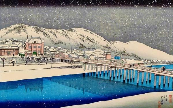 Wall Art - Painting - Top Quality Art - Kyoto Sanjo Bridge by Hashiguchi Goyo