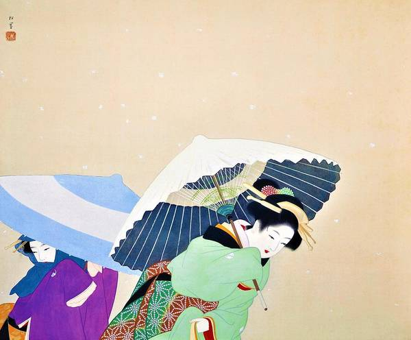 Wall Art - Painting - Top Quality Art - Large Snowflakes by Uemura Shoen