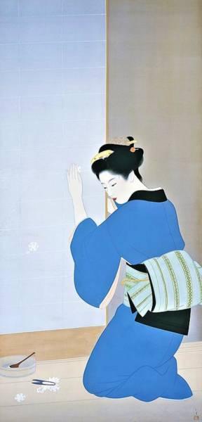 Kimono Digital Art - Top Quality Art - Late Fall by Uemura Shoen