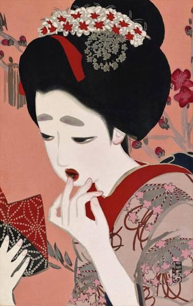 Geisha Painting - Top Quality Art - Lipstick by Kitano Tsunetomi
