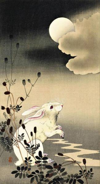 Rabbit Painting - Top Quality Art - Moon And Rabbit by Ohara Koson