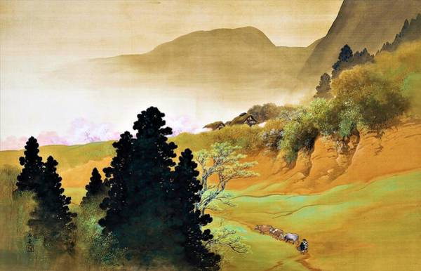 Wall Art - Painting - Top Quality Art - Mountain Village Spring Color by Kawai Gyokudo