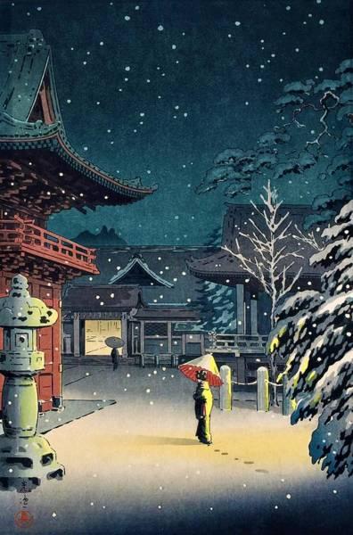 Wall Art - Painting - Top Quality Art - Nezu Temple by Tsuchiya Koitsu
