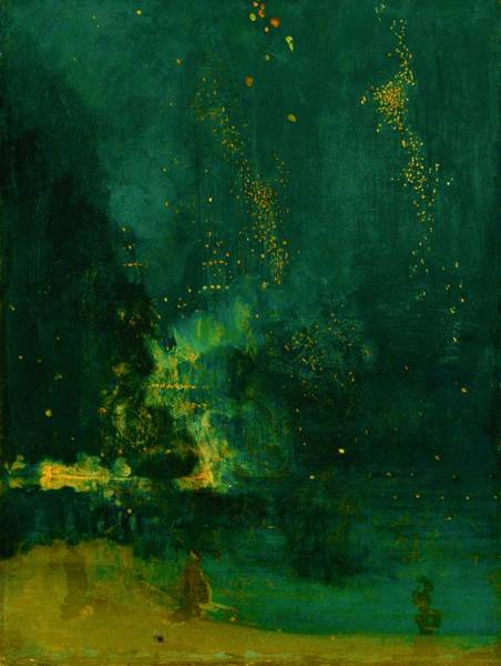Riverbed Painting - Top Quality Art - Nocturne-black And Gold-falling Fireworks by James McNeill Whistler