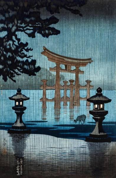 Japanese Shrine Painting - Top Quality Art - Rainy Miyajima by Tsuchiya Koitsu