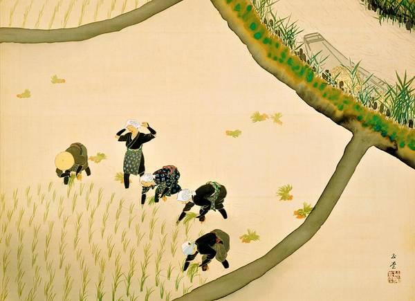 Wall Art - Painting - Top Quality Art - Rice Planting Girl by Kawai Gyokudo