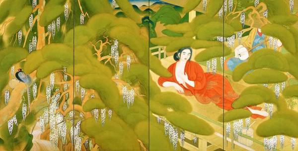 Wall Art - Painting - Top Quality Art - Serving Girl In A Spa by Tsuchida Bakusen