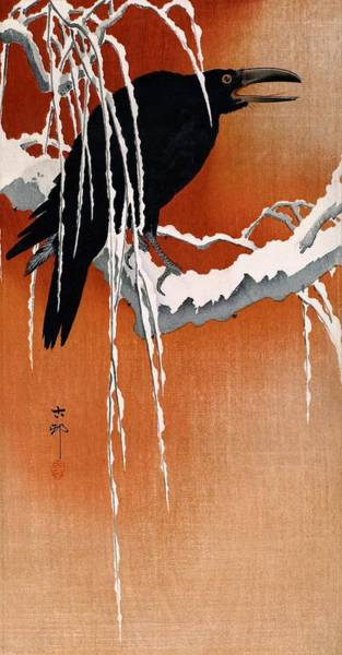 Wall Art - Painting - Top Quality Art - Snow Crow by Ohara Koson
