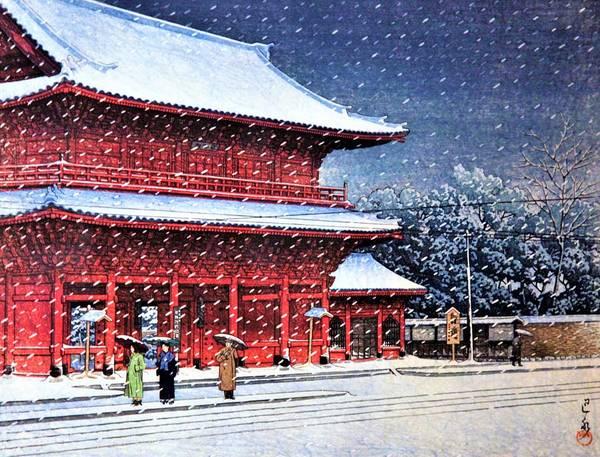 Japanese Shrine Painting - Top Quality Art - Snow Over Zojoji Temple  by Kawase Hasui