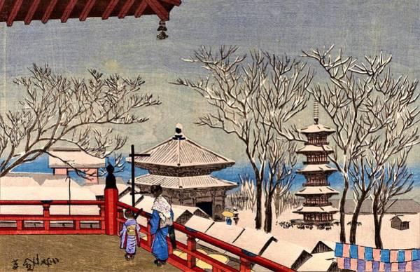 Japanese Shrine Painting - Top Quality Art - Snow Sensoji by Kobayashi Kiyochika