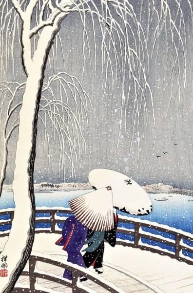 Wall Art - Painting - Top Quality Art - Snow Yanagibashi  by Ohara Koson
